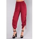 Womens New Trendy Solid Color Elastic Waist Drawstring Side Cropped Casual Pants
