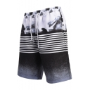 Summer Fancy Black Striped Printed Drawcord Waist Mens Beach Swimwear Swim Trunks with Liner
