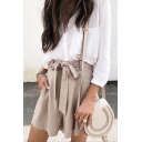 Womens Fashion Solid Color Self-Tie Waist High Rise Loose Fit Culottes Shorts