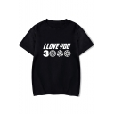 Unique Letter I Love You 3000 Basic Short Sleeve Round Neck Casual Unisex Tee
