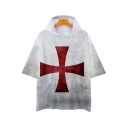 Knights Templar Red Cross Printed Relaxed Fit Short Sleeve Hooded T-Shirt