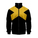 Cool Unique Yellow Letter X Colorblock Long Sleeve Stand Collar Zip Up Black Jacket