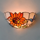 Tiffany Style Colorful Wall Light with Flower and Butterfly Pattern Class Shade Sconce Light for Foyer