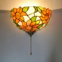 Dining Room Sunflower Pattern Sconce Light Stained Glass 1 Light Tiffany Style Vintage Sconce Lamp