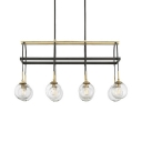 Vintage Style Island Fixture with Clear Glass Shade 8 Lights Metal Light Fixture for Kitchen