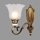 Vintage Style Flower Shade Sconce Light Metal Frosted Glass 1/2 Lights Gold Wall Light for Hallway