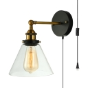 Restaurant Cafe Wall with Plug In Cord Sconce Cone Shape Glass 1 Light Vintage Style Black Sconce Light