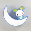 Warm Lighting/Stepless Dimming Ceiling Light White/Blue Rabbit Mood Shape Light Fixture for Child Bedroom