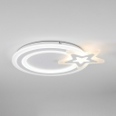 White Round Shape LED Light Fixture Acrylic Metal Slim Panel Ceiling Light Fixture with Star Pattern and White Lighting