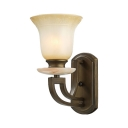 Vintage Style Bell Shade Wall Light 1 Light Glass Metal Sconce Light in Old Bronze for Study Stair
