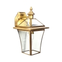 Front Door Down Lighting Wall Sconce Clear Glass Metal 1 Light Antique Style Wall Lamp in Brass