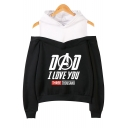 Trendy Cold Shoulder Long Sleeve Fake Two-Piece Letter DAD I LOVE YOU THREE THOUSAND Pullover Hoodie
