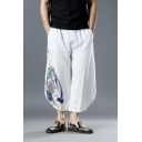 Chinese Style Landscape Painting Elastic Waist White Flax Cropped Loose Leisure Lounge Pants