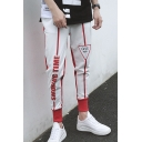 New Trend Letter Drawstring Waist Casual Cotton Slim Fit Track Pants SweatPants for Mens