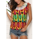 Womens Summer Fashion Tribal Printed Round Neck Ruffled Sleeve Lace-Trim Casual T-Shirt