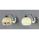 1 Light Globe Shade Wall Sconce Mosaic Glass Sconce Light with White/Color Shell for Shop Restaurant