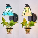 Vintage Cone Wall Lamp with Leaf Glass and Metal 1 Light Blue/Beige Sconce Light for Dining Room