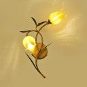 Yellow/Purple Flower Shape Sconce Light 2 Lights Rustic Metal Glass Wall Lamp for Hotel Restaurant
