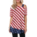 Women's Oblique Striped Stars Printed One Shoulder Short-Sleeve Tunic Tee