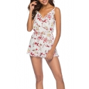Summer Chic Floral Printed White Casual Loose Strap Romper for Women