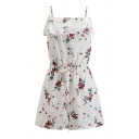 Chic Floral Printed Womens White Spaghetti Straps Drawstring Waist Romper