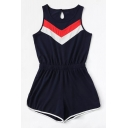 Fashion Colorblock Striped Round Neck Sleeveless Womens Royal Blue Casual Romper