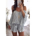 Womens Summer Fashion Tribal Printed Cold Shoulder Sexy Strap Casual Loose Romper