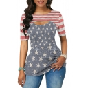 Women's Color Block Stripe Star Flag Print Short Sleeve Cut Out Tunic Fitted Tee