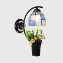 Tiffany Style Dome Wall Light 1 Light Glass and Metal Wall Lamp with Plant Decoration for Bedroom