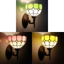 Green/Pink/Yellow Sconce Light 1 Light Tiffany Style Stained Glass Flower Shade Wall Lamp for Restaurant