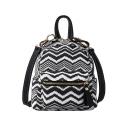 Casual Women Wave Pattern Multi-function Crossbody Bag Backpack 18*19*13 CM