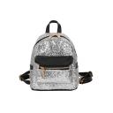 Women's Plain Sequined Designed Convertible Mini Crossbody Backpack 17*10*21 CM