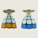 Stained Glass Cone Ceiling Lamp 1 Light Tiffany Style Flush Ceiling Light for Shop