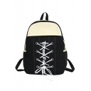 Chic Color Block Letter Printed Crisscross Tie Front School Bag Backpack 30*11*40 CM