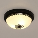 Frosted Glass Dome Flush Mount Light 3/4 Lights Antique Style Ceiling Fixture for Hotel