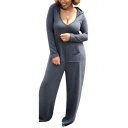 New Stylish Simple Plain Hooded Long Sleeve Wide Leg Jumpsuits
