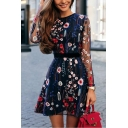Summer New Trendy Floral Embroidery Long Sleeve Mini A-Line Mesh Dress