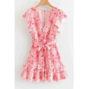 Summer Girls Fashion Red Floral Printed Ruffled Hem V-Neck Bow-Tied Waist Mini A-Line Dress