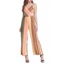 Women's Fashion Stripes Print Sexy V-Neck Strap Back Spaghetti Straps Wide Legs Jumpsuits