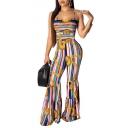 Women Hot Fashion Blue Stripes Print Sexy Spaghetti Straps Backless Slim Fit Flared Jumpsuits