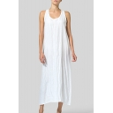 Women's New Trendy Round Neck Sleeveless Plain Casual Loose Maxi Tank Dress