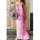 Women's Summer Fashionable Ombre Tie-Dye Printed Sleeveless Cut Out Maxi Cami Dress