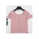 Womens Summer Retro Square Neck Short Sleeve Button Front Slim Fit Plain T-Shirt