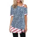 Women's Color Block Stripe Star Flag Print One Shoulder Short Sleeve Tee
