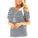 Women's Plus Size New Trendy Stripes Bow One Shoulder Round Neck Short Sleeve Loose T-Shirt