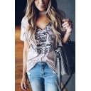 Women's Hot Sale Funny Bicycle Printed Halter V-Neck Short Sleeve Graphic Tee