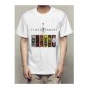 New Trendy Sword Animal Logo Printed Basic Short Sleeve White T-Shirt