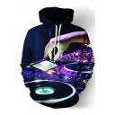 Cool 3D Disc Printed Basic Long Sleeve Pullover Blue Drawstring Hoodie