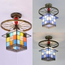 Vintage Style House Semi Flush Mount Light 1 Light Glass Ceiling Light with Wheel for Bedroom