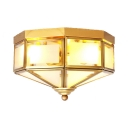 Frosted Glass Ceiling Light 3 Lights Vintage Style Flush Mount Light in Brass for Foyer